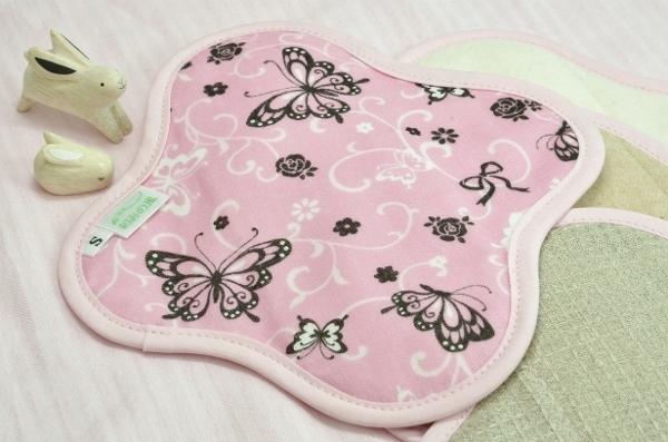 画像1: 布ナプキン◆Sサイズ◆あげは蝶(ピンク) (1)