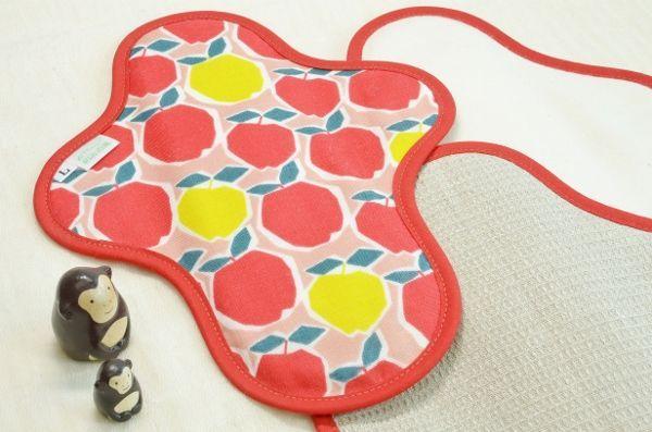 画像1: <廃盤柄>布ナプキン一体型◆Lサイズ◆カクカクりんご(赤) (1)